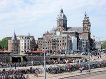 Amsterdam with Nicolaas basilica , Schreierstoren, bicycle Stock Photo