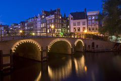 Amsterdam at night 1. Amsterdam at night. A bridge over the Singel canal at night in Amsterdam, the Netherlands Stock Photo