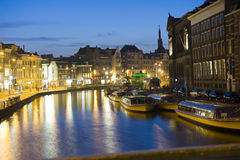 Amsterdam at night royalty free stock photography