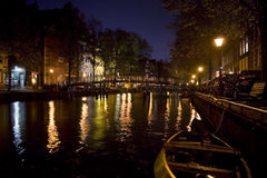 Amsterdam by Night. Amsterdam canal at night with beautiful colored lights Stock Photography