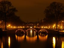 Amsterdam by night. Canals of Amsterdam by night Royalty Free Stock Photo
