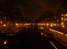 Amsterdam by night. Canals of Amsterdam by night Stock Photo