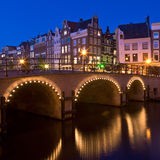 Amsterdam at night. Singel Canal, Netherlands Royalty Free Stock Image
