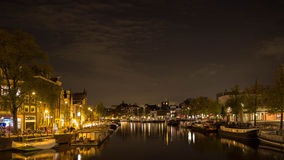 Amsterdam by night, canalstreets Stock Image