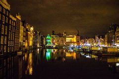 Amsterdam night city scene Royalty Free Stock Images