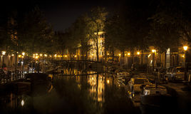 Amsterdam night: lights and canal Stock Photography
