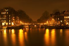 Amsterdam by night in the Netherlands Royalty Free Stock Photo