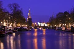 Amsterdam by night in the Netherlands Royalty Free Stock Photos
