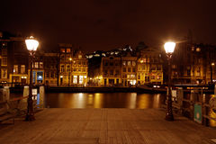 Amsterdam at night in the Netherlands Royalty Free Stock Photo