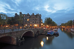 Amsterdam by night in Netherlands Stock Photography