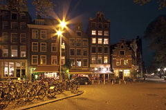Amsterdam by night in Netherlands Royalty Free Stock Photos