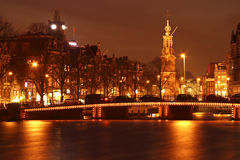 Amsterdam by night in the Netherlands Royalty Free Stock Image