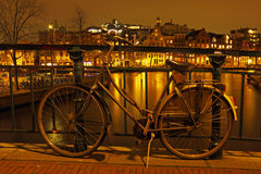Amsterdam by night in Netherlands Royalty Free Stock Images