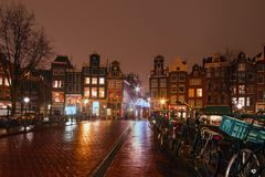 Amsterdam by night in the Netherlands Royalty Free Stock Photography