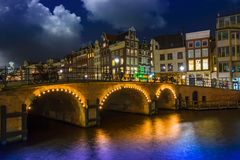 Amsterdam at night, Singel Canal Royalty Free Stock Photos