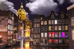Amsterdam at night, Singel Canal royalty free stock images