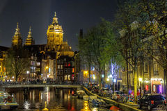Amsterdam nightlife. Church building at Amsterdam red-light district, Netherlands Stock Photography