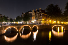 Amsterdam nightscape canal Stock Photos