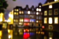 Amsterdam noc defocused Zdjęcia Royalty Free