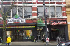Amsterdam of North America. New Amsterdam cafe adjacent to Cannabis store. Vancouver is referred to as Amsterdam of North America. It is common to see people stock image