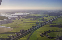 Amsterdam North Holland Aerial View from Aircraft Porthole Stock Image