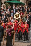 Close-up of excited musical band playing in festivity with cloudy sky at Amsterdam. Amsterdam, northern Netherlands - June 24, 2017. Close-up of excited musical Stock Photos