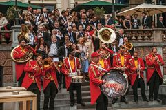 Close-up of excited musical band playing in festivity with cloudy sky at Amsterdam. Amsterdam, northern Netherlands - June 24, 2017. Close-up of excited musical Stock Photography
