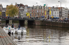 Amsterdam. OCTOBER 20, 2013: Bicycles in  on October 20, 2013.  is worlds most bicycle friendly cities, 57% of traffic covered by bicycles and 760,000 Royalty Free Stock Photos