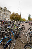 Amsterdam. OCTOBER 20, 2013: Bicycles in  on October 20, 2013.  is worlds most bicycle friendly cities, 57% of traffic covered by bicycles and 760,000 Royalty Free Stock Photography