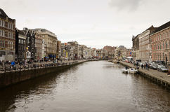 Amsterdam. OCTOBER 20, 2013:  Canal in  on October 20, 2013.  has been called the Venice of the North for its more than 100 kilometers of canals, about 90 Royalty Free Stock Images