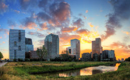 Amsterdam offices sunrise Royalty Free Stock Photo