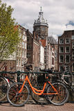 Amsterdam with old bikes on the bridge in Holland Stock Photos