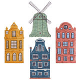 Amsterdam. Old historic buildings and traditional architecture of Netherlands Stock Images