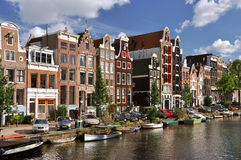 Amsterdam. Old houses along the canals of Amsterdam Stock Image