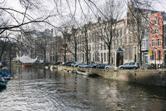 Amsterdam, one of the main calìnals of the town with light inst Stock Photography