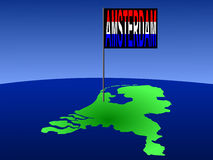 Amsterdam op de kaart van Nederland Royalty-vrije Stock Afbeeldingen