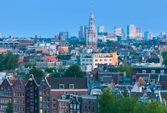 Amsterdam på den tidiga aftonen Royaltyfri Fotografi