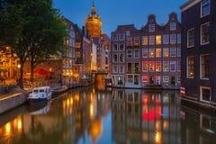 Amsterdam på natten Royaltyfria Foton