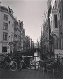 Amsterdam på vintertid i December 2016 royaltyfri foto