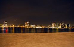 AMSTERDAM, PAÍSES BAJOS - 20 DE ENERO DE 2016: Vistas de la ciudad de Amsterdam en la noche Vistas generales del paisaje de la ci Fotos de archivo
