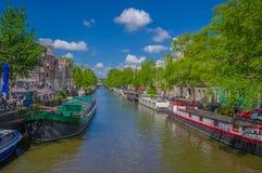 Amsterdam, Países Bajos - 10 de julio de 2015: Canal de agua visto del pequeño puente, de árboles verdes y de edificios residenci Imágenes de archivo libres de regalías