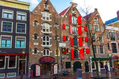 Amsterdam, Paesi Bassi - 14 dicembre 2017: Le costruzioni della città di Amsterdam Fotografia Stock Libera da Diritti