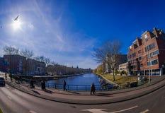 AMSTERDAM, PAESI BASSI, MARZO, 10 DEL 2018: Il punto di vista all'aperto della gente che cammina vicino ai canali di Amsterdam, è Immagine Stock Libera da Diritti