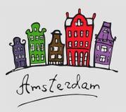 Amsterdam Paisaje urbano estilizado en color ilustración del vector