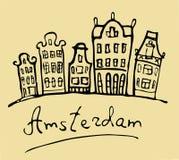 Amsterdam Paisaje urbano estilizado en un fondo beige stock de ilustración
