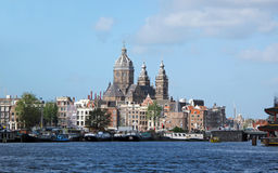 Amsterdam panorama. Amsterdam, capital city of Netherlands Royalty Free Stock Photo
