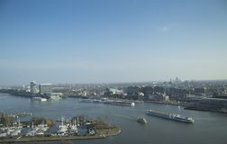 Amsterdam panorama. Made from A`dam skydeck. River and big ferry on first plan Royalty Free Stock Image