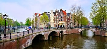 Amsterdam panorama. Panoramic image of the canals and bridges of Amsterdam, Netherlands Royalty Free Stock Photos