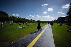 Amsterdam path bicycle lane pedestrian park water sculpture Holland river stock photos