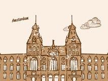 Amsterdam, Pays-Bas, carte de voeux illustration de vecteur